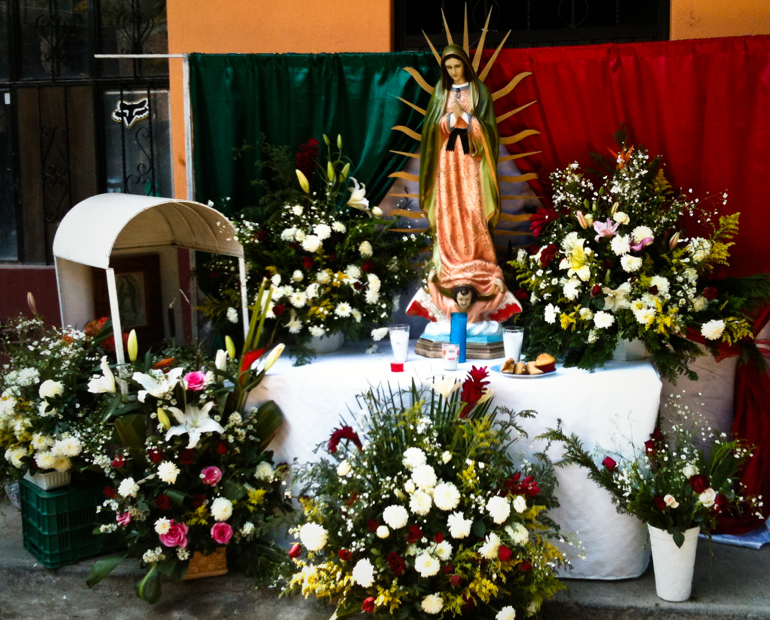 Neighborhood altar to la Virgen de Guadalupe in san miguel de allende