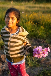 little girl picking flowers in san miguel de allende